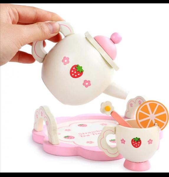 Set din lemn Servit Ceaiul - Set de Ceai  copii cu accesorii [9]