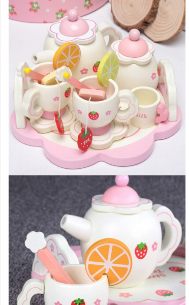 Set din lemn Servit Ceaiul - Set de Ceai  copii cu accesorii [5]