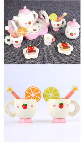Set din lemn Servit Ceaiul - Set de Ceai  copii cu accesorii [7]