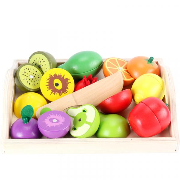 Set Fructe de Feliat din Lemn cu Tavita prindere Magnet 0