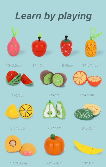 Set Lada cu fructe si legume de feliat din lemn Jumbo 30 piese 2