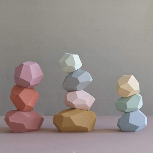 Set Montessori Creativ Pietre colorate - Set Creativ cu Forme in Echilibru 0