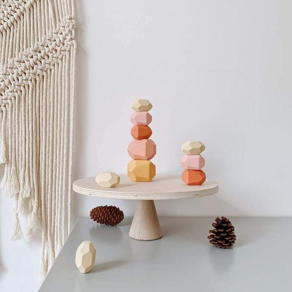 Set Montessori Creativ Pietre colorate - Set Creativ cu Forme in Echilibru 1