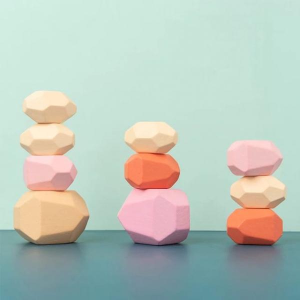 Set Montessori Creativ Pietre colorate - Set Creativ cu Forme in Echilibru 5