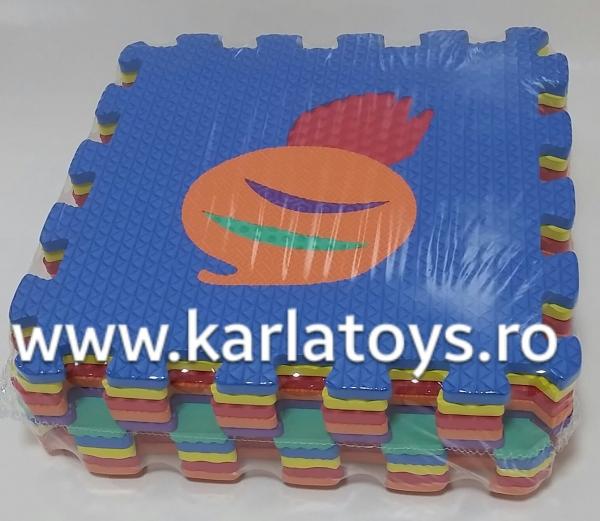 Set puzzel 10 piese cu fructe si legume - Covoras puzzle fructe si legume 3