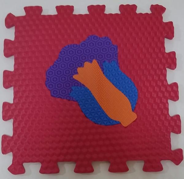 Set puzzel 10 piese cu fructe si legume - Covoras puzzle fructe si legume 10