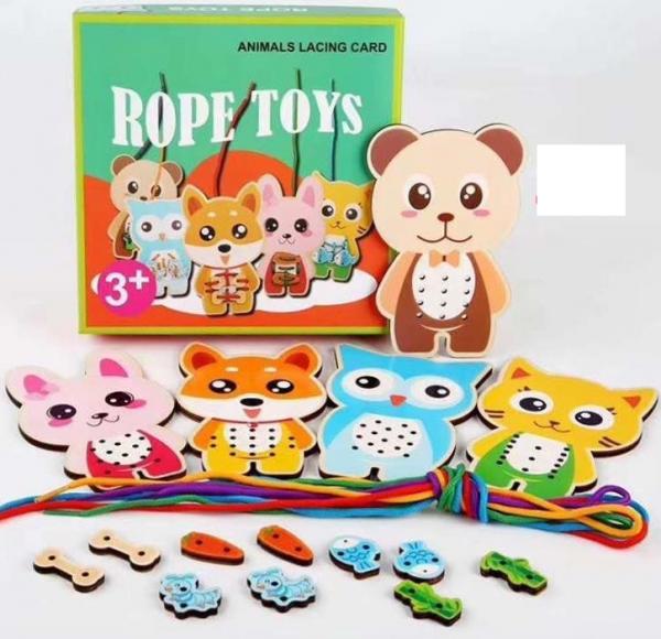 Set Puzzzle lemn Montessori potrivire si Insiruire Rope Toys 3