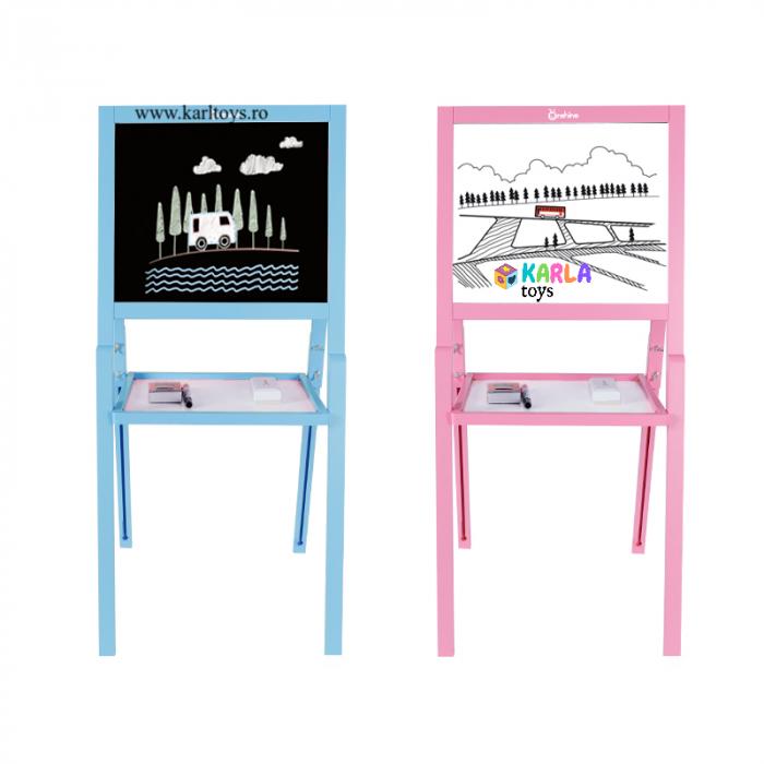 Sevalet copii din lemn Tabla de Desen magnetica cu 2 fete Onshine 2