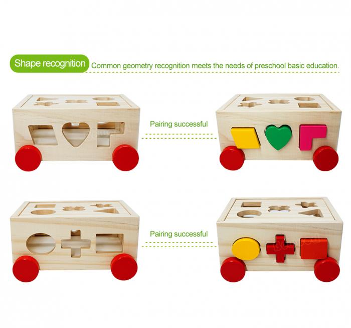Joc din lemn cutie sortator forme geometrice cu roti 3