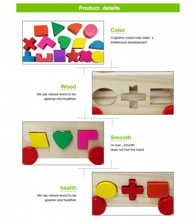 Joc din lemn cutie sortator forme geometrice cu roti 2