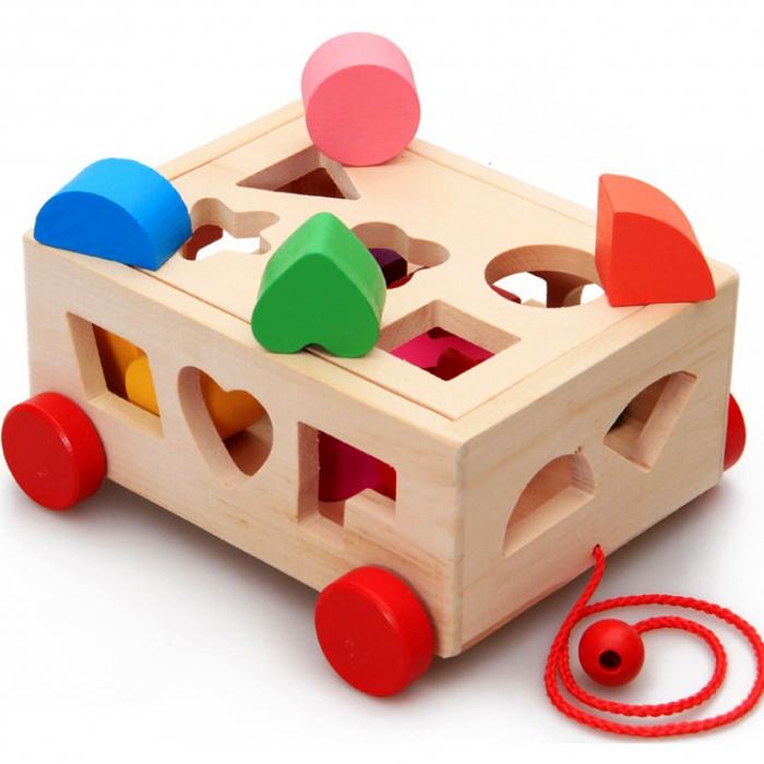 Joc din lemn cutie sortator forme geometrice cu roti 0