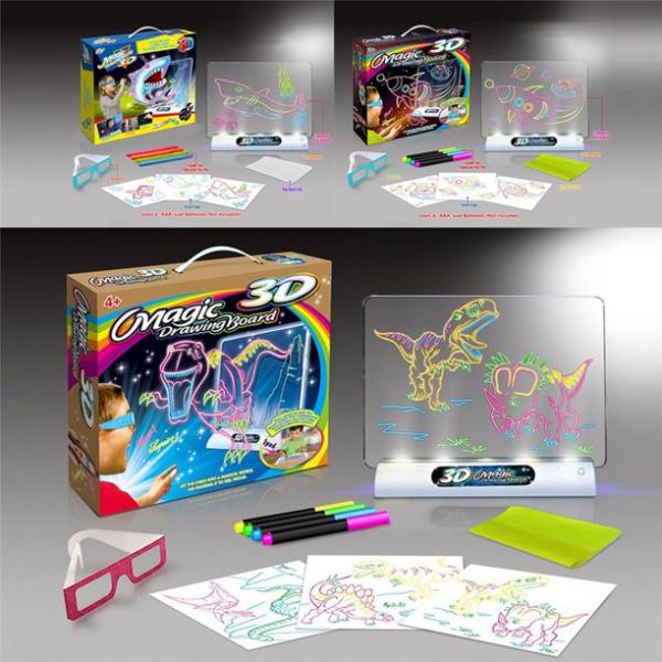 Tabla de desen 3d Magic Drawing Dinozauri cu ochelari 1