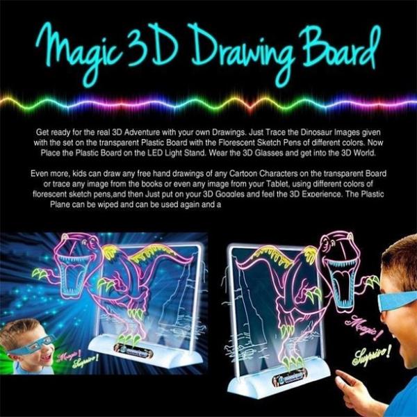 Tabla de desen 3d Magic Drawing Dinozauri cu ochelari 2