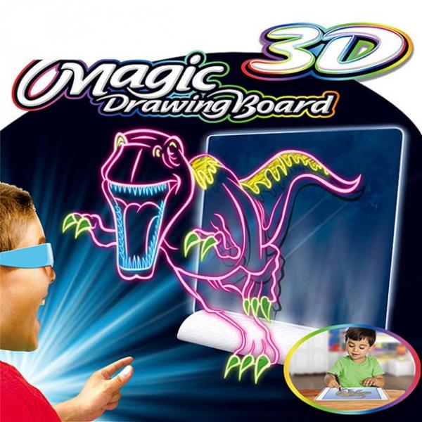 Tabla de desen 3d Magic Drawing Dinozauri cu ochelari 0