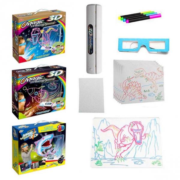 Tabla de desen 3d Magic Drawing Dinozauri cu ochelari 4