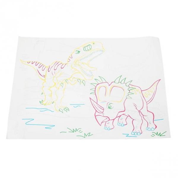 Tabla de desen 3d Magic Drawing Dinozauri cu ochelari 3