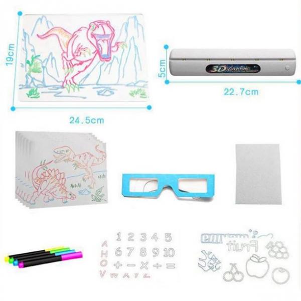 Tabla de desen 3d Magic Drawing Dinozauri cu ochelari 7