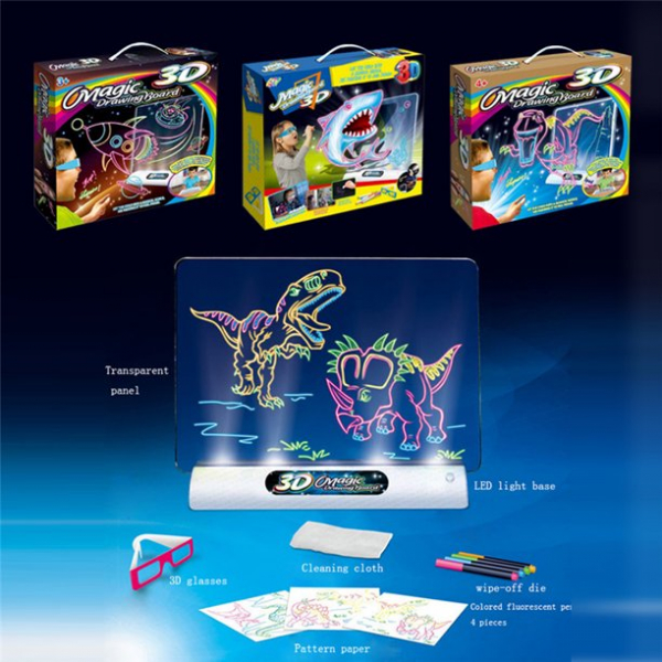Tabla de desen 3d Magic Drawing Dinozauri cu ochelari 9