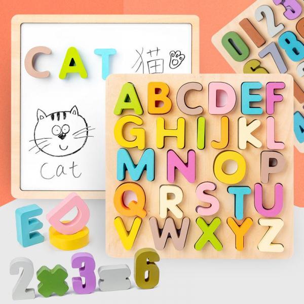 Tabla din lemn Mltifunctionala Alfabet sau Cifre 2 in 1 2