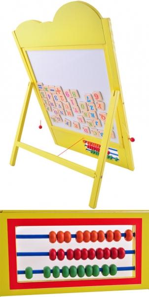Tabla educativa cu ceas si abac rama colorata galbena 1
