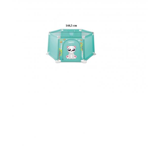 Tarc bebe Hexagonal cu 50 de bile si mini cos Happy Panda 145 de cm culori pastel 3