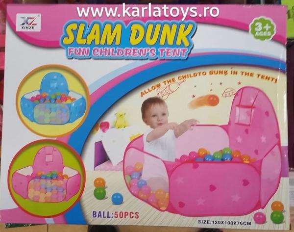 Tarc 50 Bile Colorate si mini cos de baschet - Tarc Bebe 50 bile Slam Dunk 0