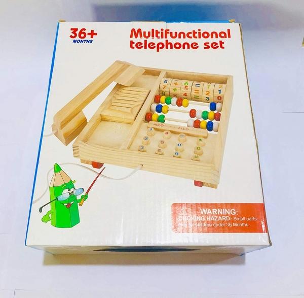 Jucarie lemn Telefon multifunctional cu abac 1