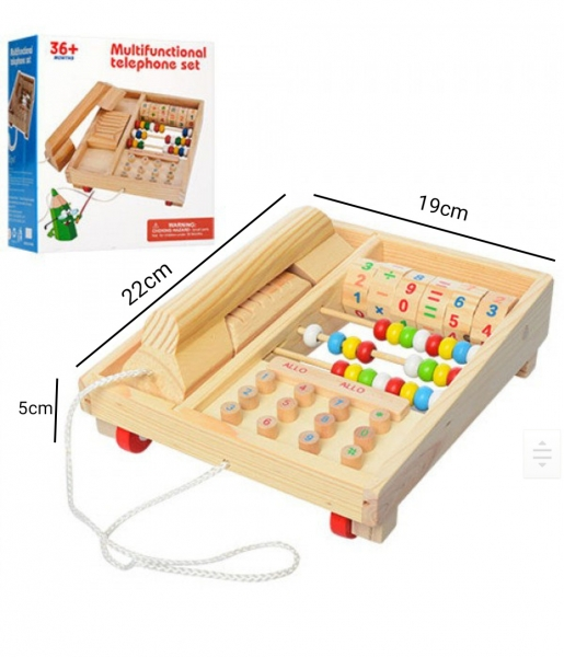 Jucarie lemn Telefon multifunctional cu abac 2