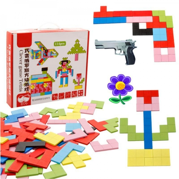 Joc Montessori Tetris din lemn 114 piese 2