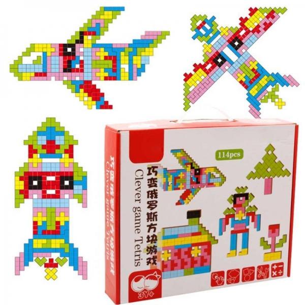 Joc Montessori Tetris din lemn 114 piese 3