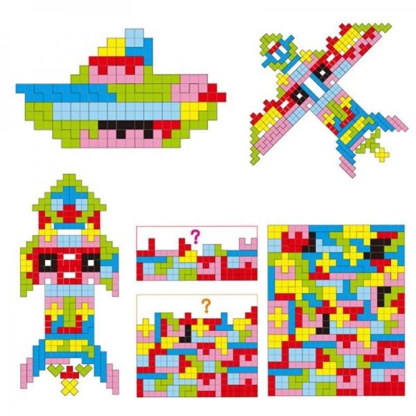 Joc Montessori Tetris din lemn 114 piese 4