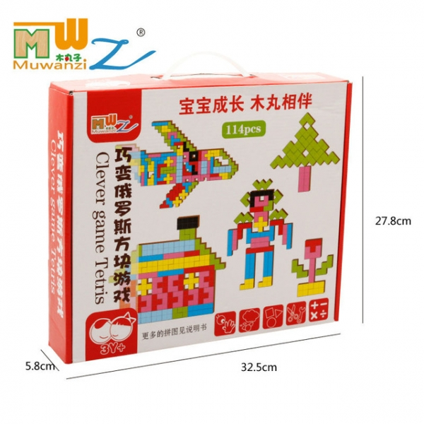 Joc Montessori Tetris din lemn 114 piese 6