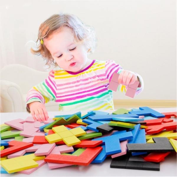 Joc Montessori Tetris din lemn 114 piese 0