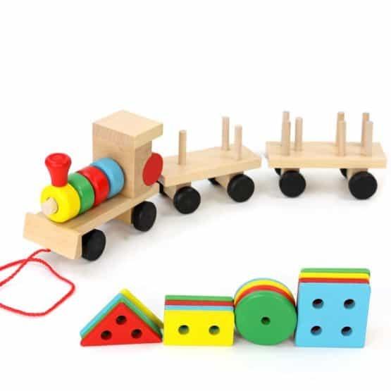 Trenulet  din lemn cu forme geometrice 1