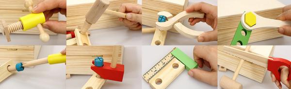 Trusa de scule din lemn cu accesorii - Set cutie de scule lemn copii 7