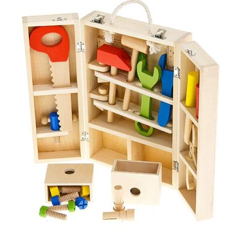 Trusa de scule din lemn cu accesorii - Set cutie de scule lemn copii 1