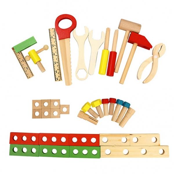 Trusa de scule din lemn cu accesorii - Set cutie de scule lemn copii 3