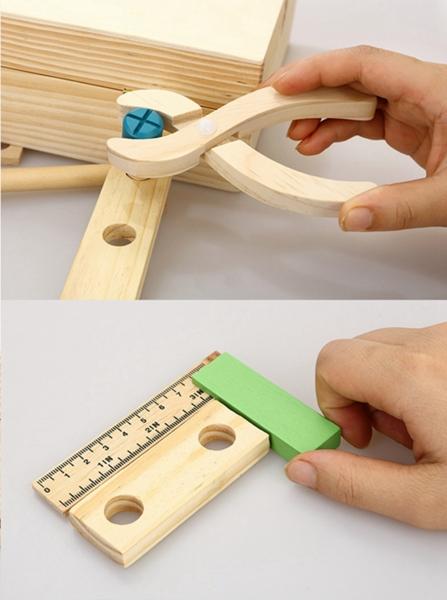Trusa de scule din lemn cu accesorii - Set cutie de scule lemn copii 4