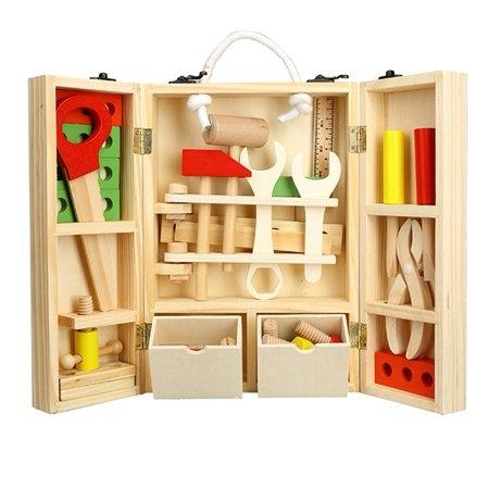 Trusa de scule din lemn cu accesorii - Set cutie de scule lemn copii 2