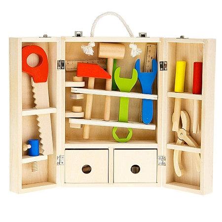Trusa de scule din lemn cu accesorii - Set cutie de scule lemn copii 0
