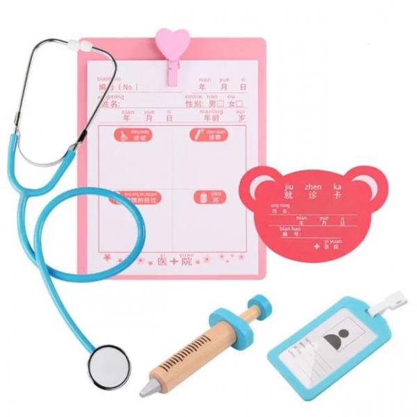 Trusa Dentist de  jucarie pentru copii cu accesorii din lemn 3