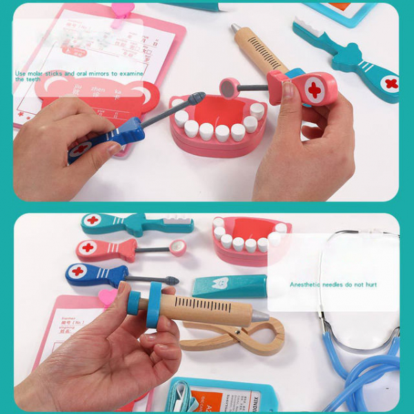 Trusa Dentist de  jucarie pentru copii cu accesorii din lemn 4