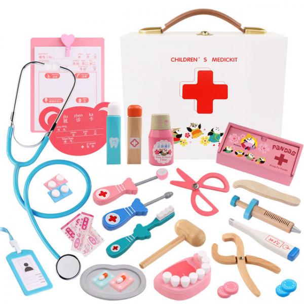 Trusa Dentist de  jucarie pentru copii cu accesorii din lemn 0