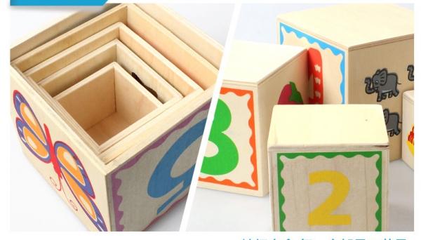 Turn Cuburi din Lemn - Set Cuburi din Lemn Montessori 7