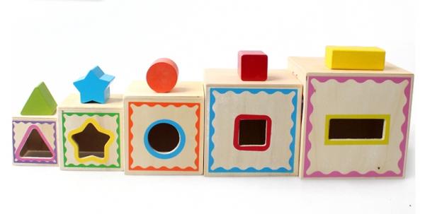 Turn Cuburi din Lemn - Set Cuburi din Lemn Montessori 5