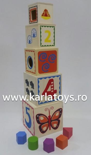Turn Cuburi din Lemn - Set Cuburi din Lemn Montessori 1