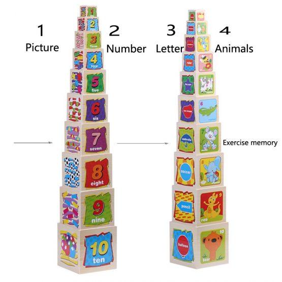 Turn Cuburi din Lemn - Set Cuburi din Lemn Montessori 8
