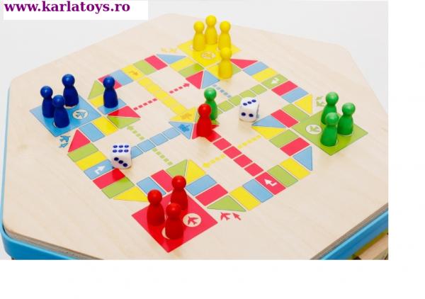 Cub Hexagonal Multifunctional din lemn 8 in 1 cu joc de societate cu pioni 5