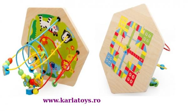 Cub Hexagonal Multifunctional din lemn 8 in 1 cu joc de societate cu pioni 7