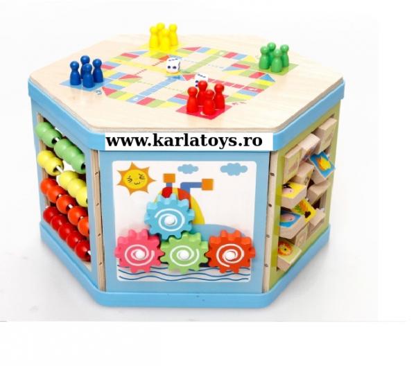 Cub Hexagonal Multifunctional din lemn 8 in 1 cu joc de societate cu pioni 13